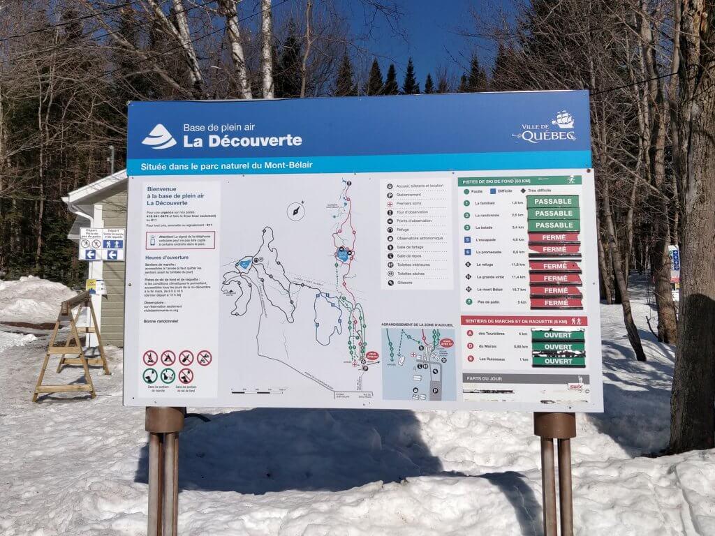 Carte des pistes de ski de fond et des sentiers pédestres