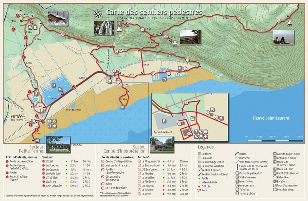 Carte des sentiers pédestres du Cap-Tourmente