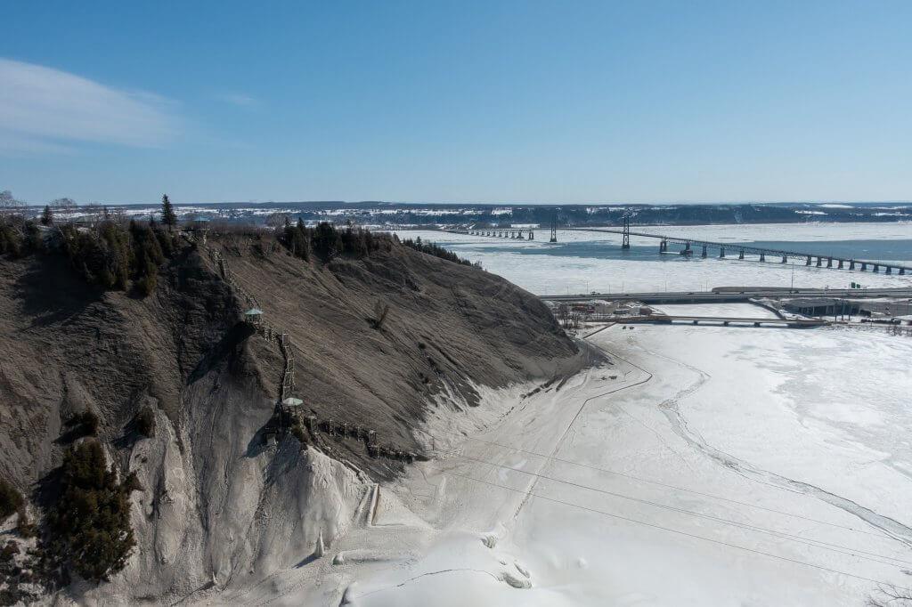 Panoramic stairway, bridge and snow