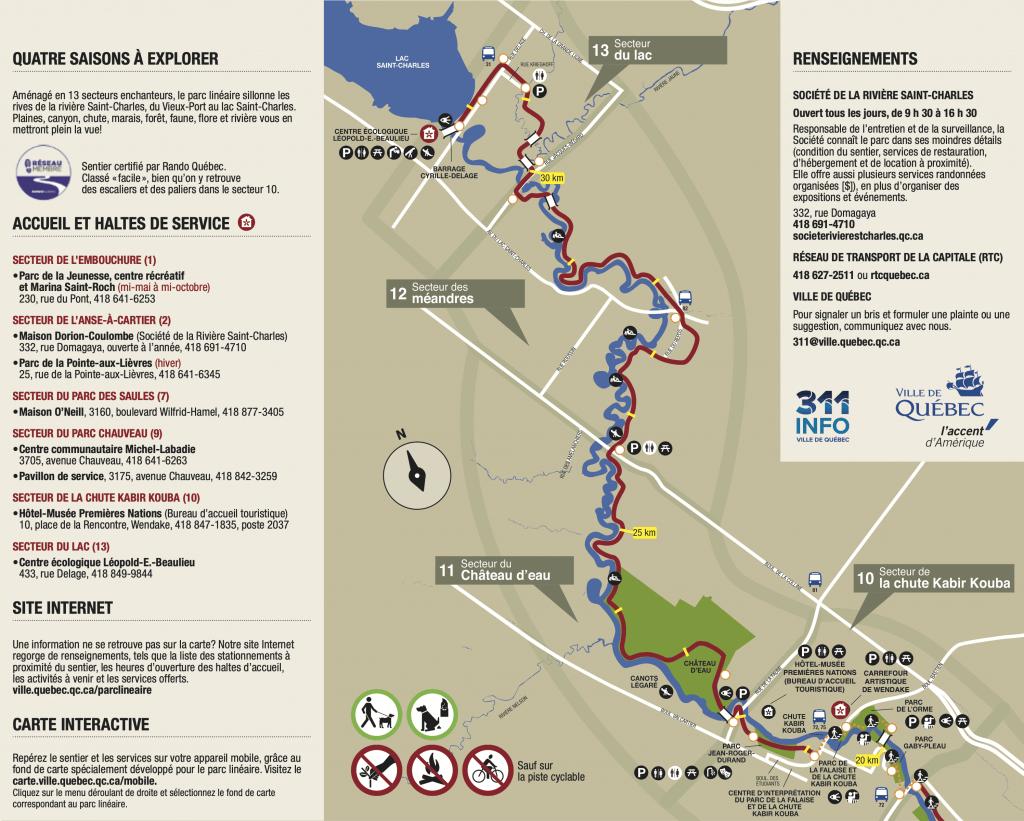 Carte des premiers secteurs du parc linéaire de la rivière Saint-Charles
